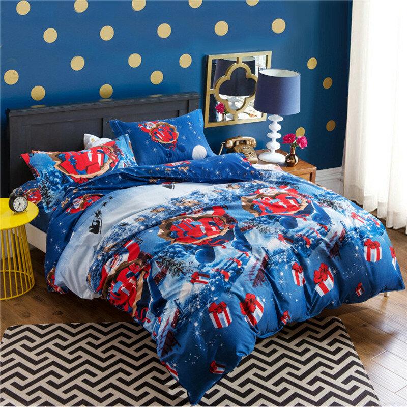 4pcs Christmas Theme Soft Polyester Cotton Sheets Pillow Case Bedding