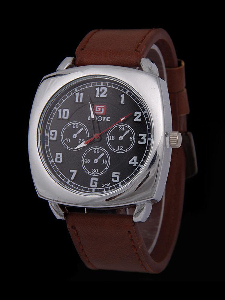 سبيكة بو الجلود سترايب الرياضة مربع Watch رئيس العسكرية Watch حزام الكوارتز Watch