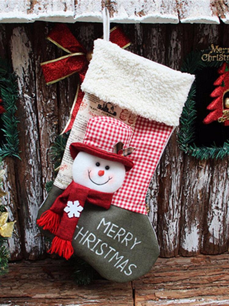Christmas Decoration Socks Plaid Snowman Christmas Gifts Elderly For Christmas Tree