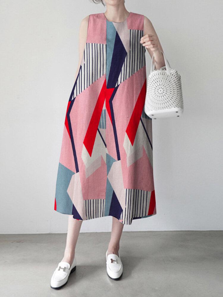 Geometry Stripe O-neck Pocket Sleeveless Women Print Dress