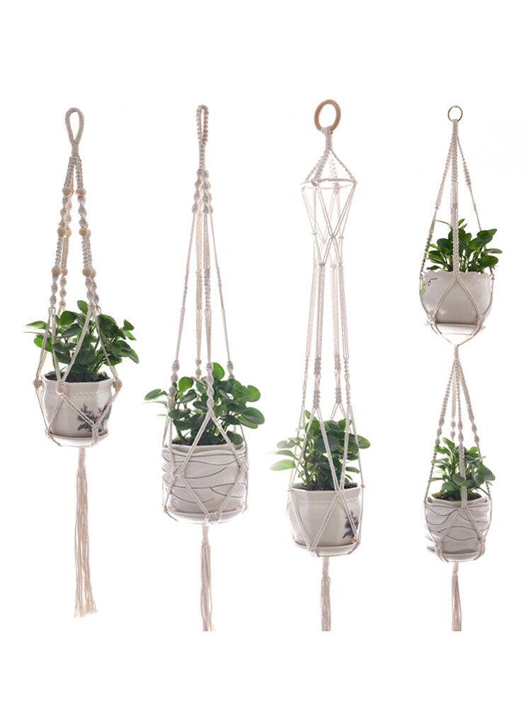 4 pcs Macrame Plant Hanger and Hooks Indoor Outdoor Hanging Plant Holder Planter Stand Flower Decor