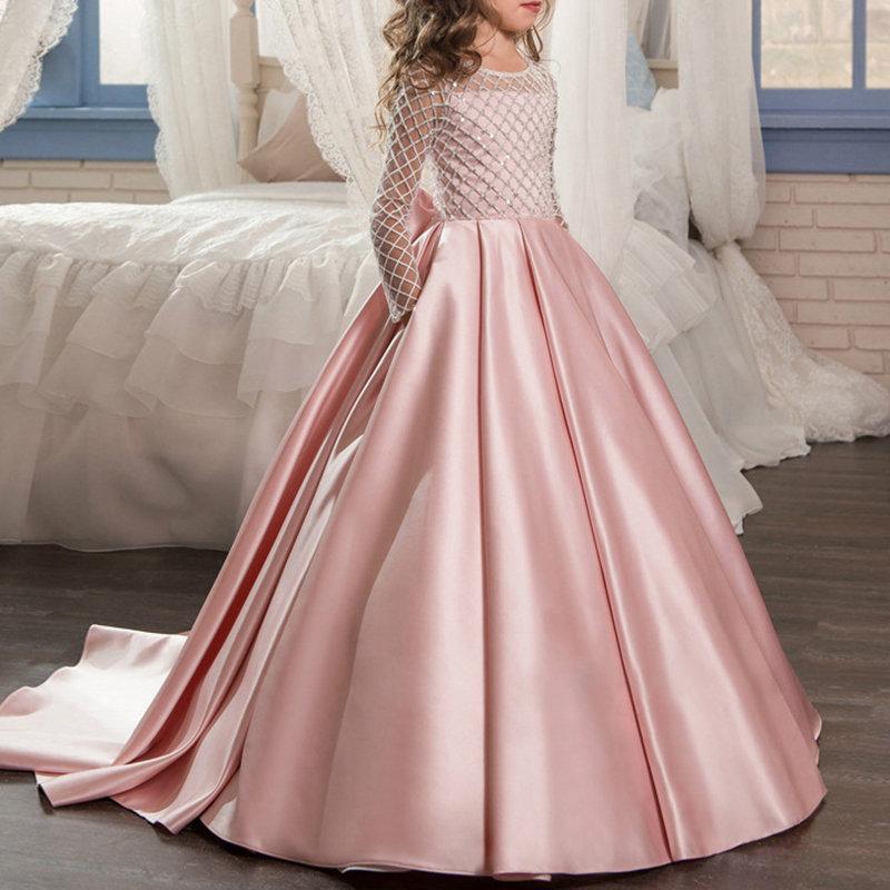 Grid Girls Long Sleeve Pleated Wedding Trailing Fancy Dress For 4Y-15Y