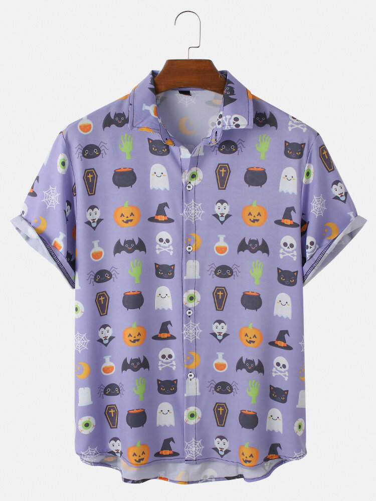 Men Fun Cartoon Halloween Printed Casual Curved Hem Shirt