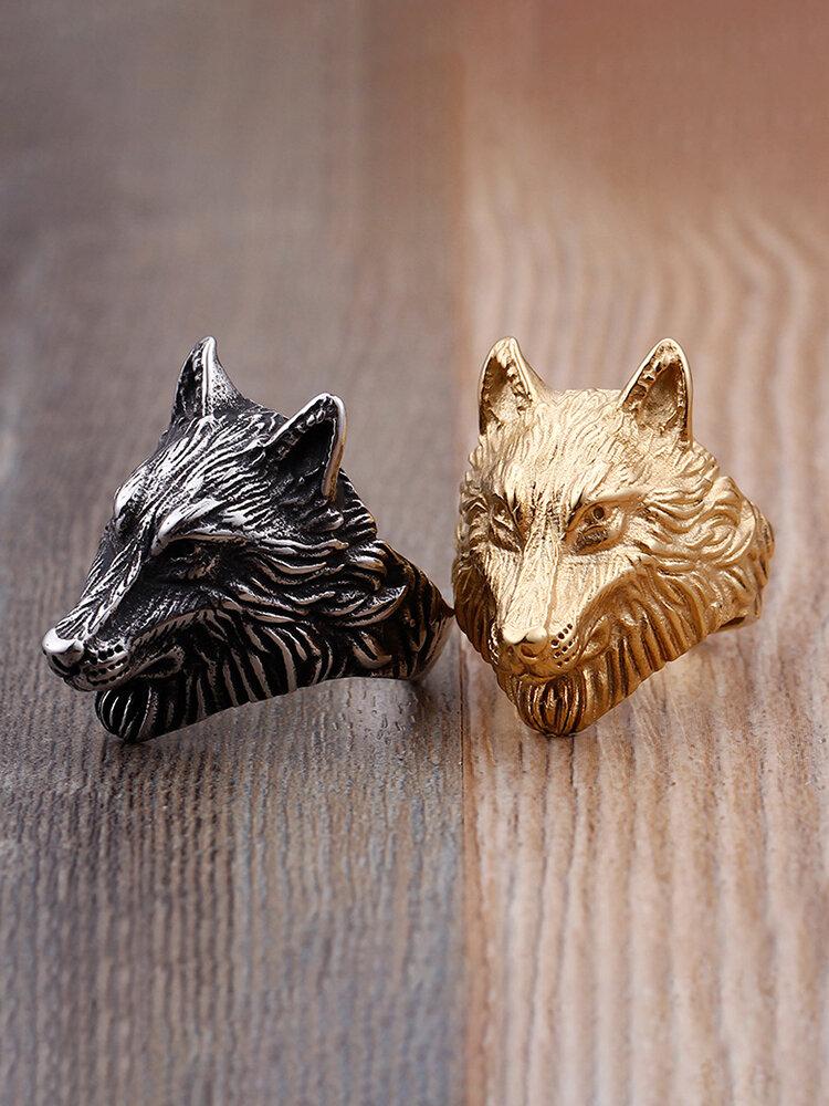 Vintage Alloy Stainless Steel Domineering Wolf Head Ring