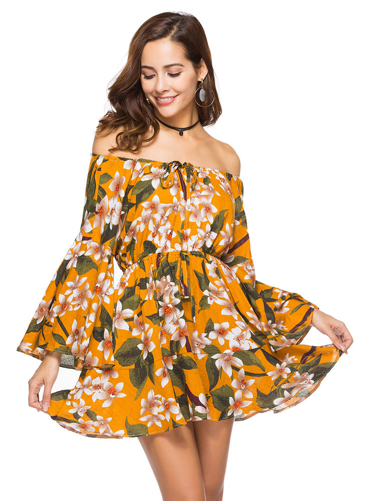 3b66d16bb90 Plus size Bohemian Floral Printed Off Shoulder Long Sleeve Mini Dresses -  NewChic