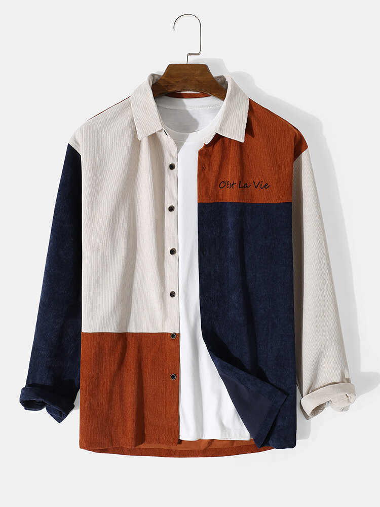Mens Corduroy Color Block Patchwork Letter Pattern Casual Long Sleeve Shirts