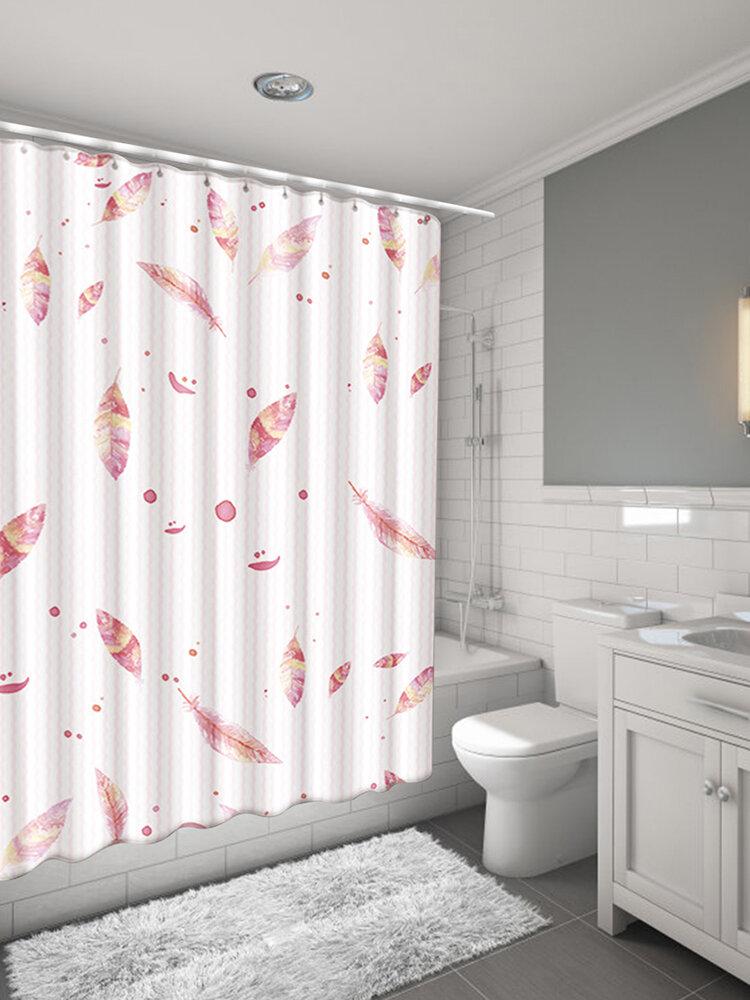 1 Set Bathroom Non-Slip Pedestal Rug Lid Toilet Cover Bath Mat Curtain & Hooks