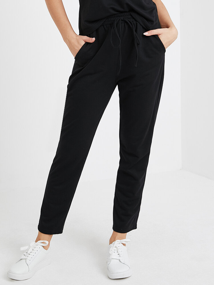 Solid Color Drawstring Pocket Long Casual Pants for Women