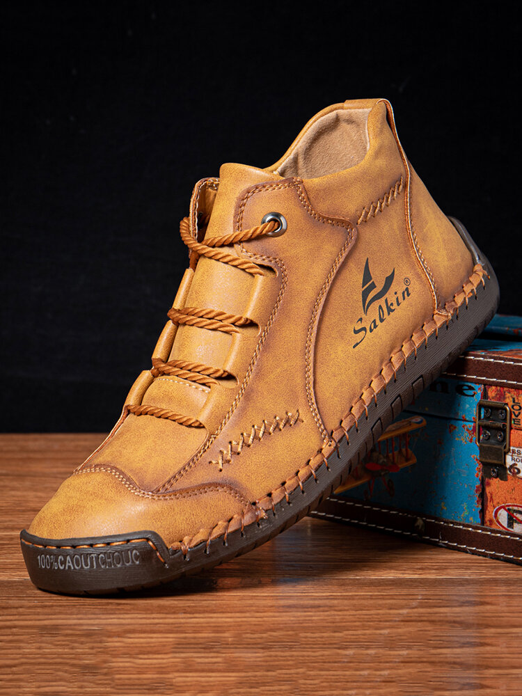 Salkin Men Hand Stitching Microfiber Leather Lace Up Ankle Boots