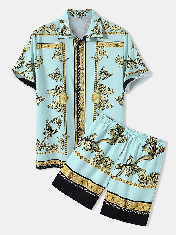 メンズラグジュアリーバロックプリント半袖巾着ツーピース衣装