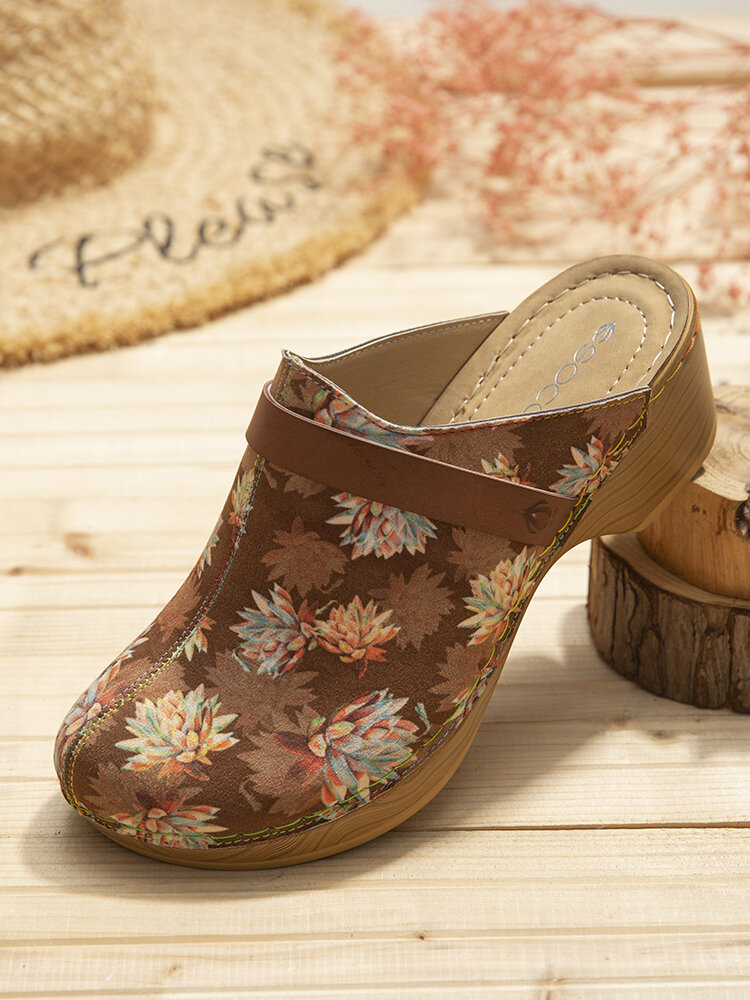 SOCOFY Calico Printed Cloth Comfy Wearable Slip On Wood Mules Clogs Casual Low Heel Sandals For Easter Gifts