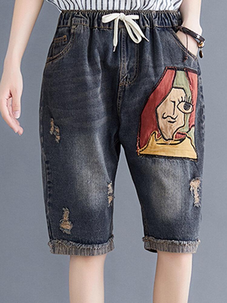 Cartoon Patch Elastic Waist Denim Pants with Pockets