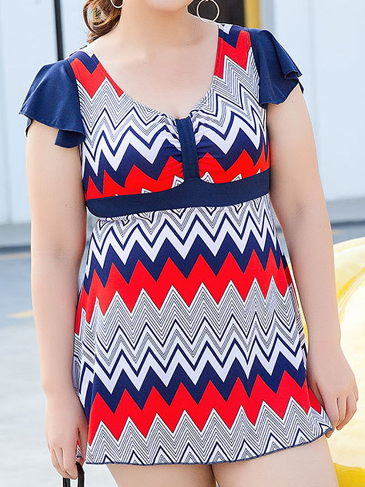 Plus Size Wave Printing Ruffle Short Sleeves V Shape Back Wireless Swimdress For Women (SKU669048) photo