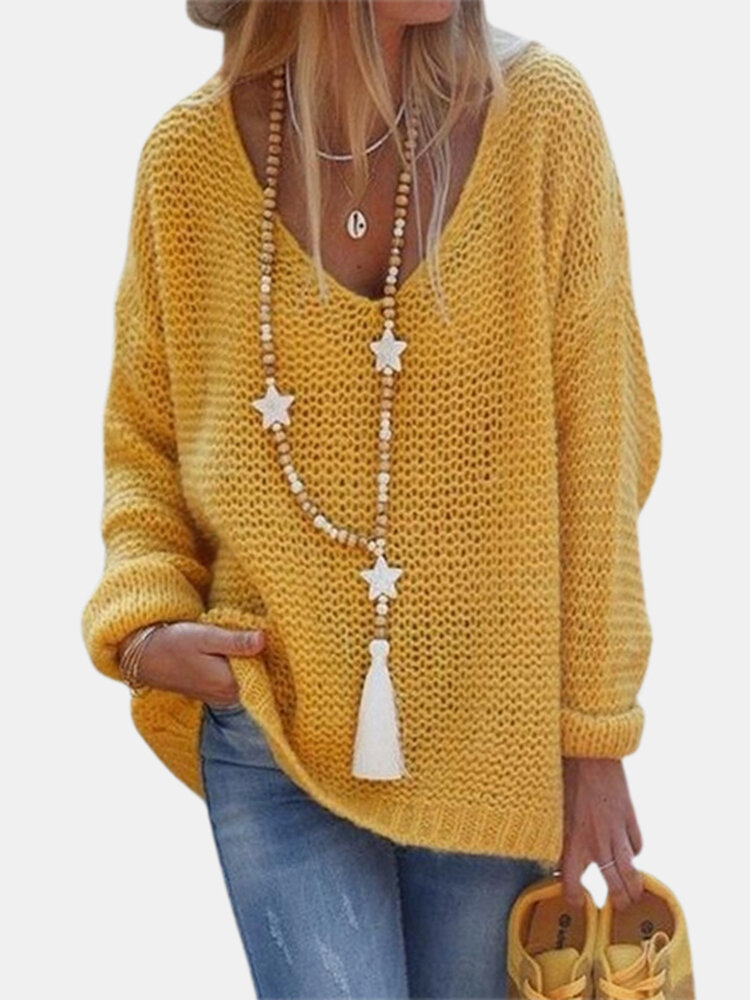 Solid Color V-neck Long Sleeve Casual Sweater For Women