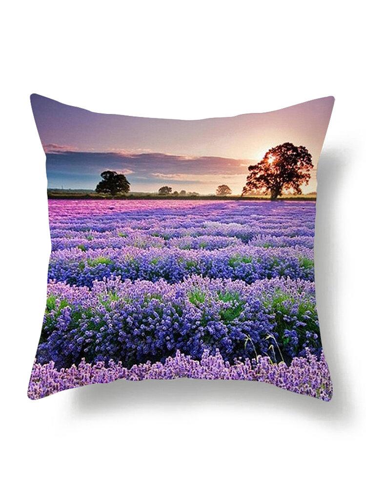 枕カバーを投げる油絵ラベンダー紫の花装飾枕ケース家の装飾正方形18x18インチ綿リネン枕カバー