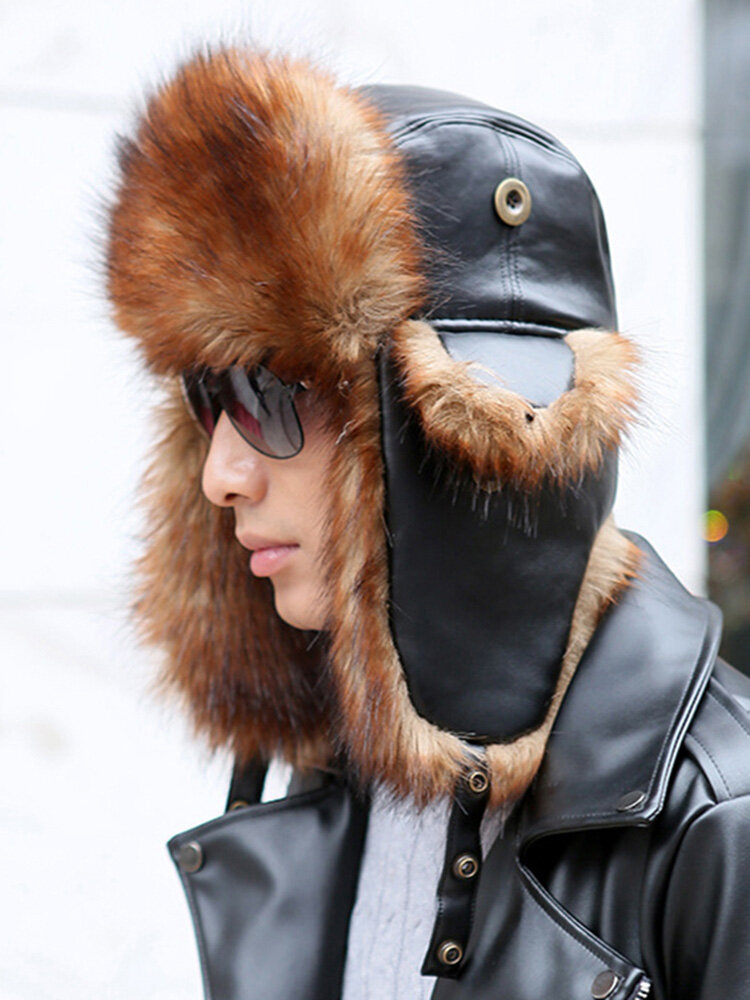 Mens Winter Warm Lei Feng Hat Leather Fleece Thick Ear Protectors Outdoor Skiing Mask Cap
