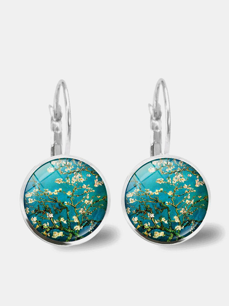 Vintage Geometric Round Oil Painting Series Earrings Metal Glass Gem Daisy Pendant Ear Clips