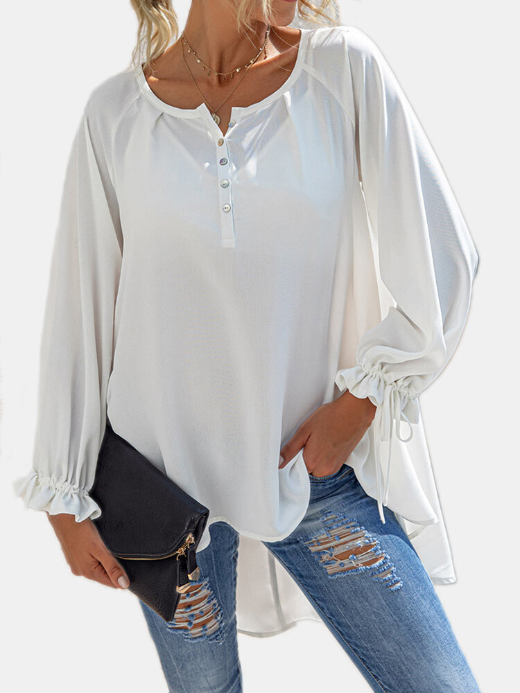 Solid Color O-neck Long Sleeves Casual Loose Blouse For Women