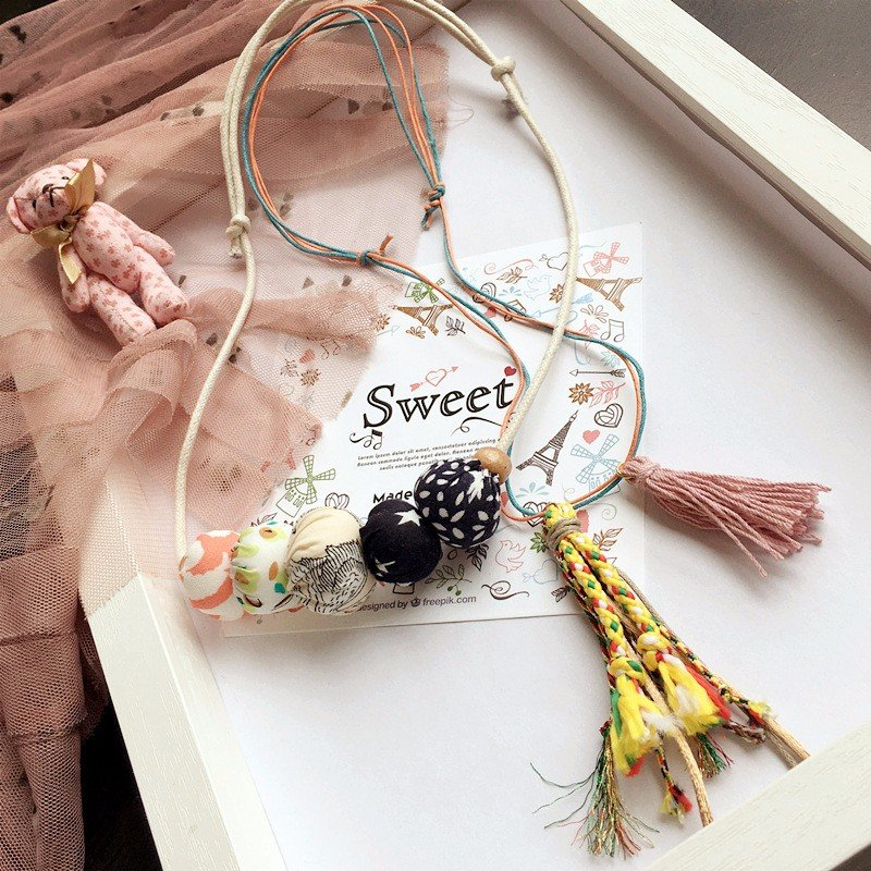 Cute Girl's Handmade Cotton Wild Tassel Ball Necklace