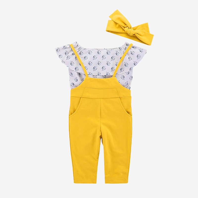 3PCs Girl's Printed Top+Jumpsuit+Headwear Casual Clothing Set For 1-7Y