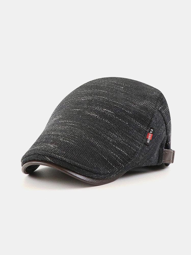 メンズニットレザーつばレターラベルカジュアル暖かさベレー帽フラットキャップ