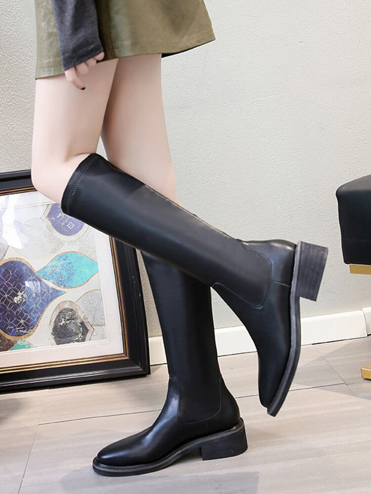 Women's Round Toe Slip-On Solid Color Mid-Calf Fashion Riding Boots