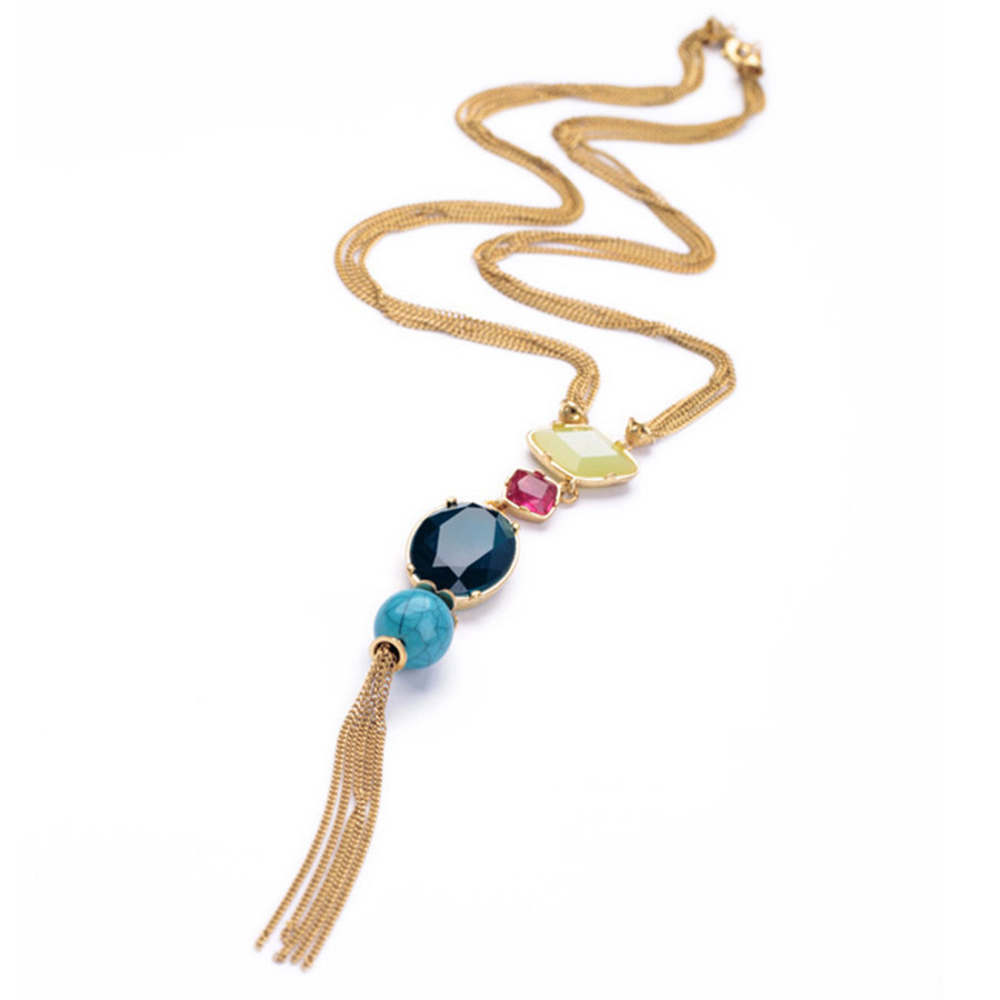Trendy Crystal Geometric Tassels Pendant Necklace Gold Y-Neck Chain Better Gift for Women