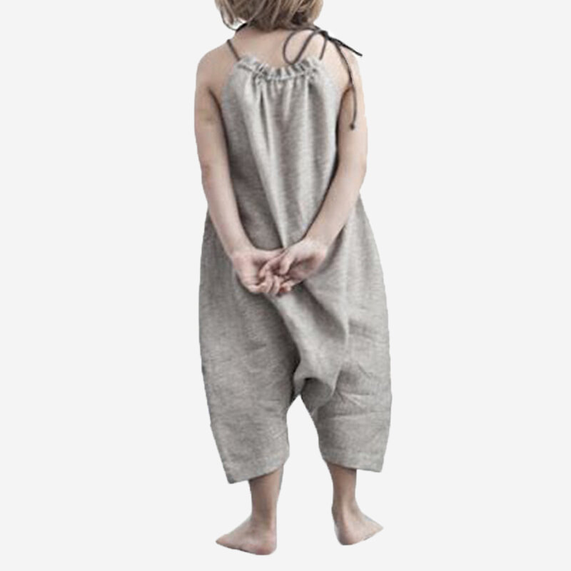 Girl's Solid Color Sleeveless Rompers Casual Slip Jumpsuit For 2-8Y