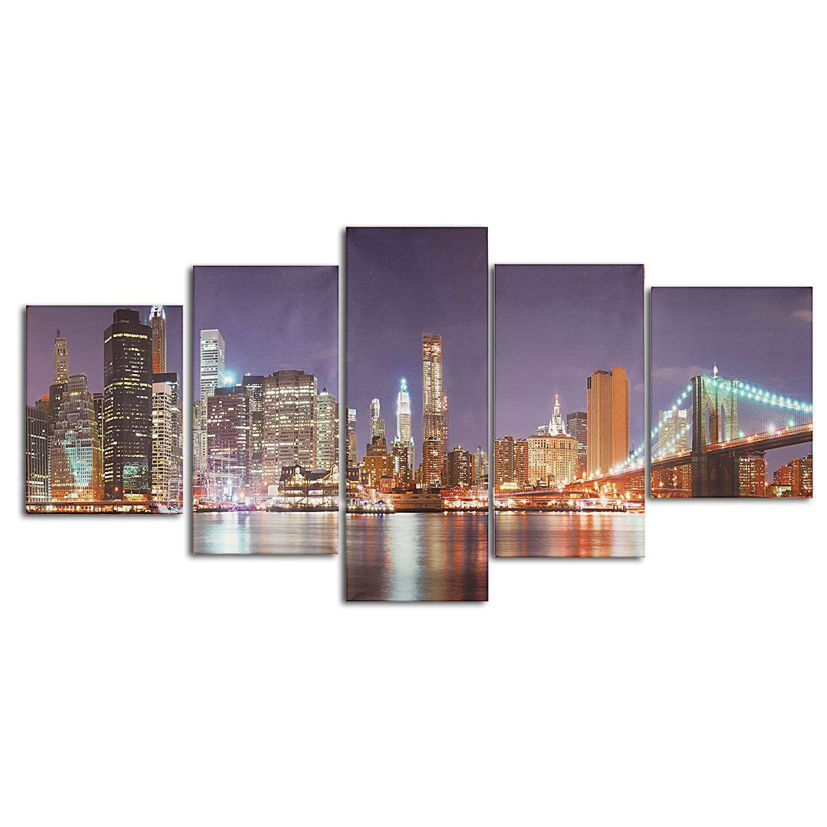 No Framed Town Seaside City Abstract Wall Art Canvas Oil Painting 5PC