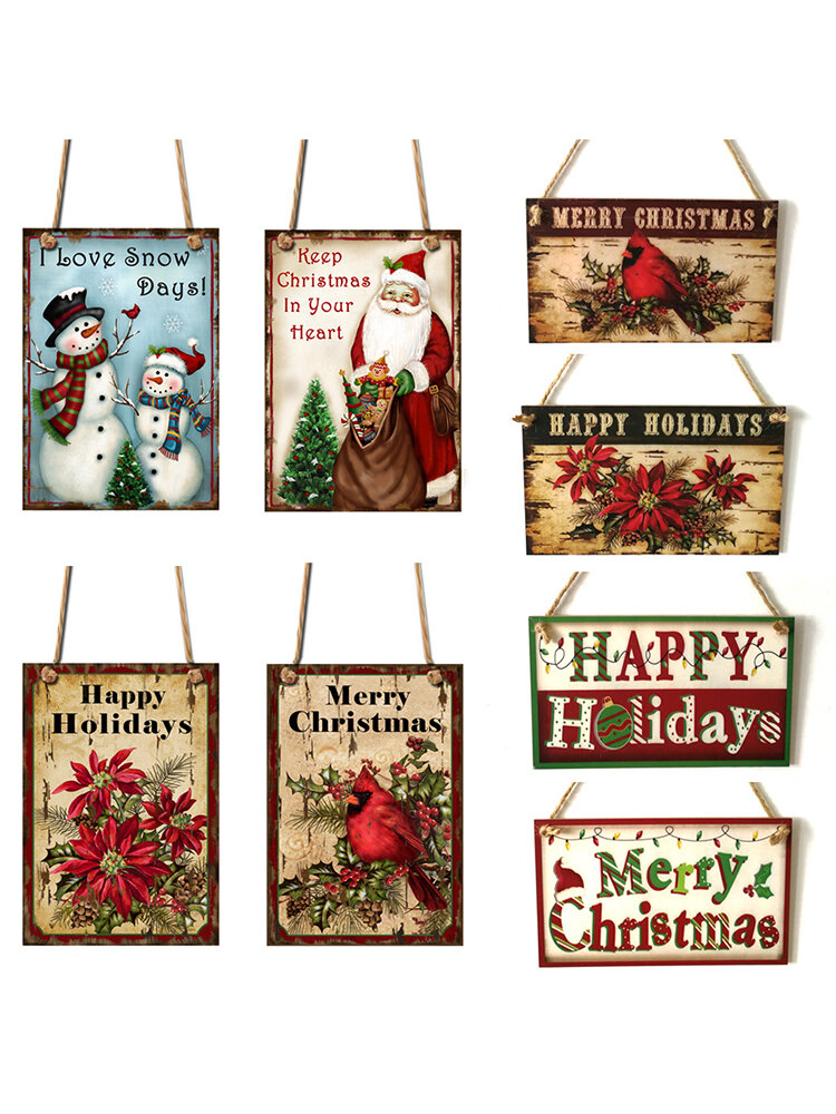 1Pc Christmas Door Hanging Painting Board Sata Claus Snowman Merry Christmas DIY House Wall Decor Party Supplies