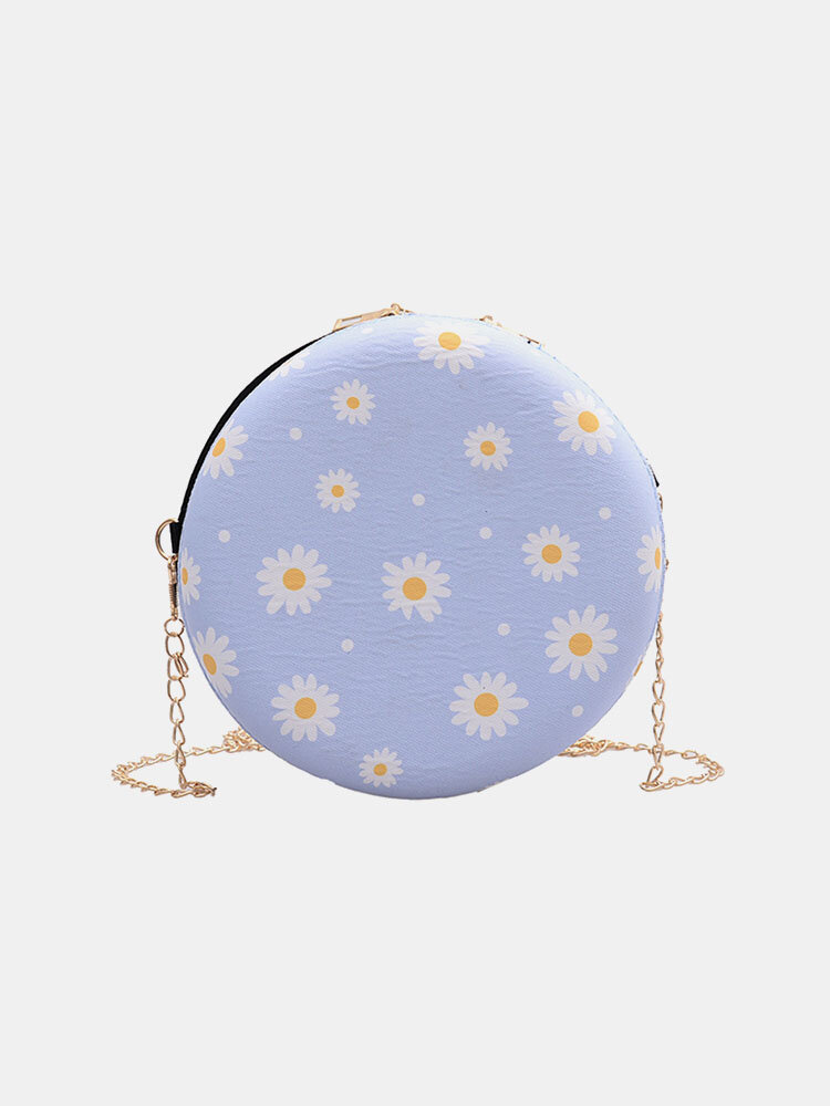 Women Dotted Daisy Printed Chain Shoulder Bag
