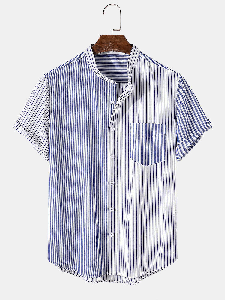 Mens Patchwork Striped Casual Short Sleeve Curved Hem Cotton Shirt