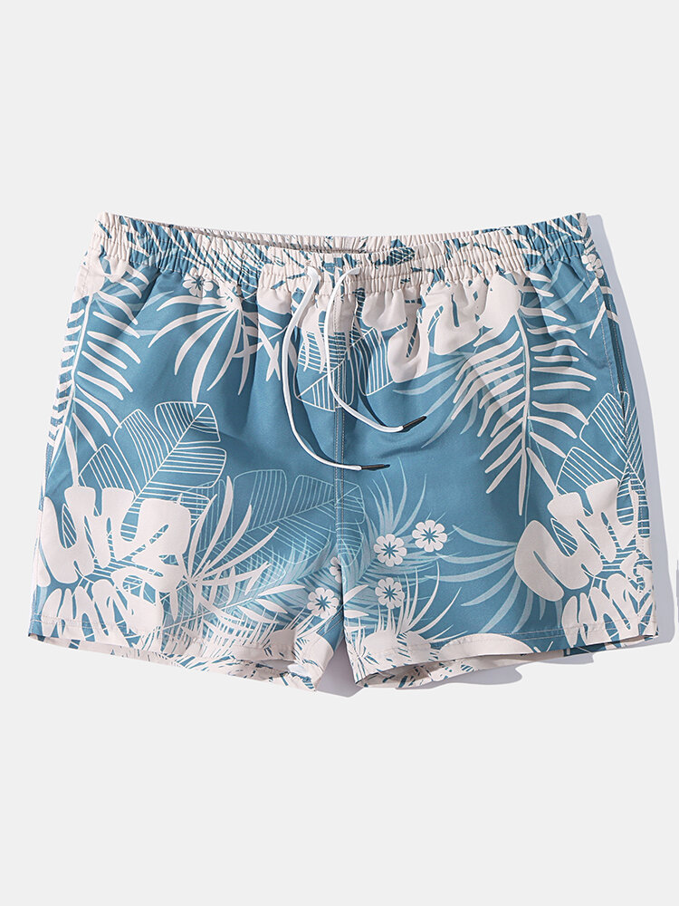Mens Leaf Print Breathable Swim Shorts With Mesh Liner