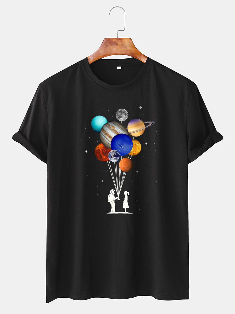 Mens Cotton Astronaut Colorful Planet Print O-Neck Casual Short Sleeve T-Shirts
