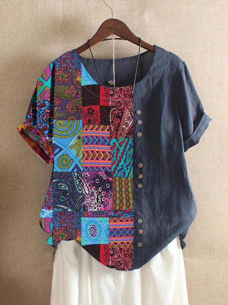 Folk Style Print Patchwork Short Sleeve Summer T-shirt