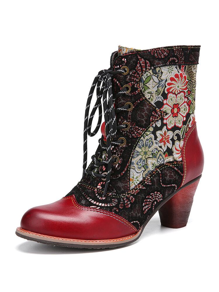 SOCOFY Retro Floral Embroidery Leather Splicing Lace-up Comfy Non Slip Size Zipper Short Boots