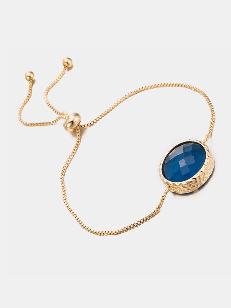 Vintage Women Bracelet Copper Crystal Glass Bracelet