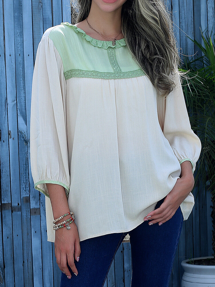 Contrast Color Stitch O-neck Casual Blouse for Women