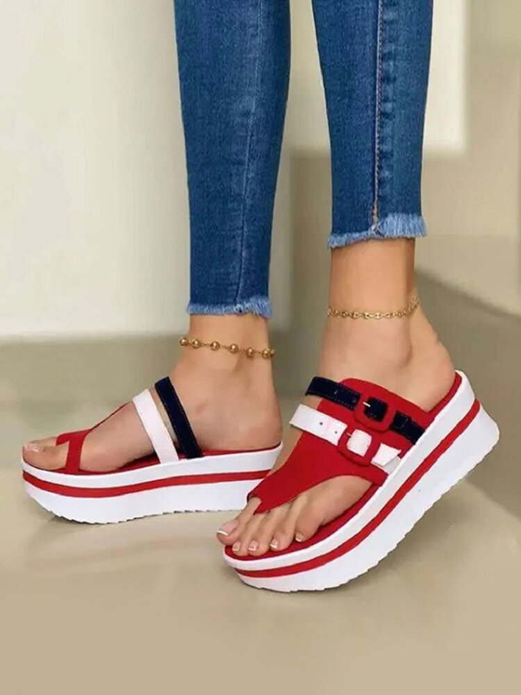 Large Size Casual Buckle Decor Platform Thunmb Slippers For Women