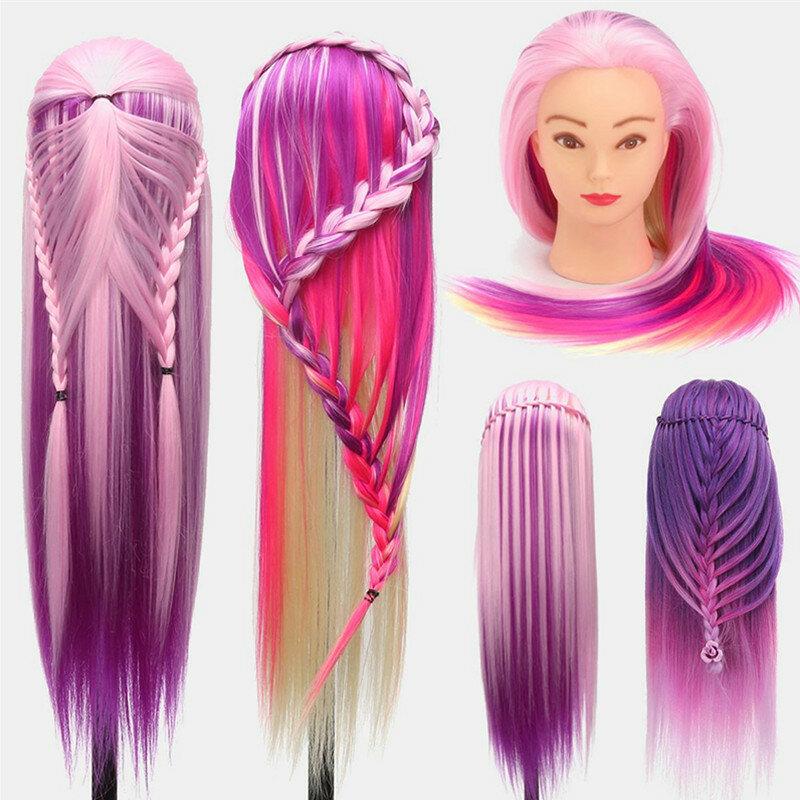 Multicolor Hairdressing Training Head Model Braided Disc Hair Salon Hairdresser Practice Mannequin