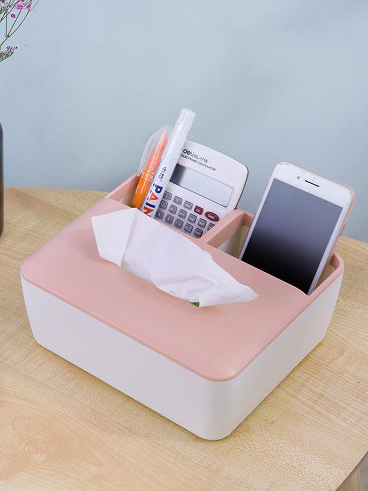 Multifunctional Tissue Storage Box Desktop Remote Control Storage Box