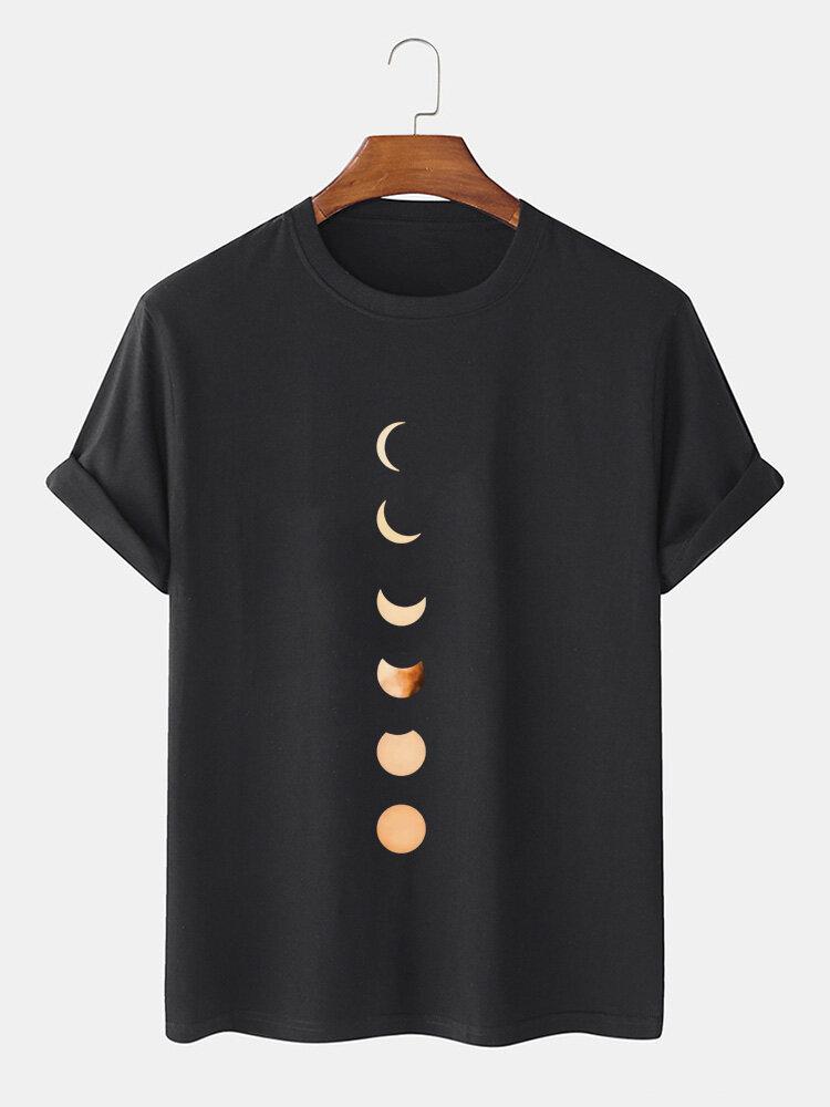 Mens Cotton Moon Patter Print Plain Breathable Casual O-Neck T-Shirts