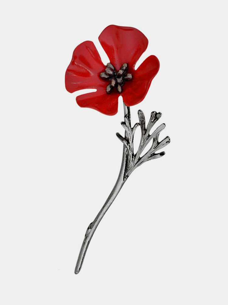 Fashion Red Poppy Flower Brooch Vintage Collar Pins Suit Accessories Jewelry for Unisex