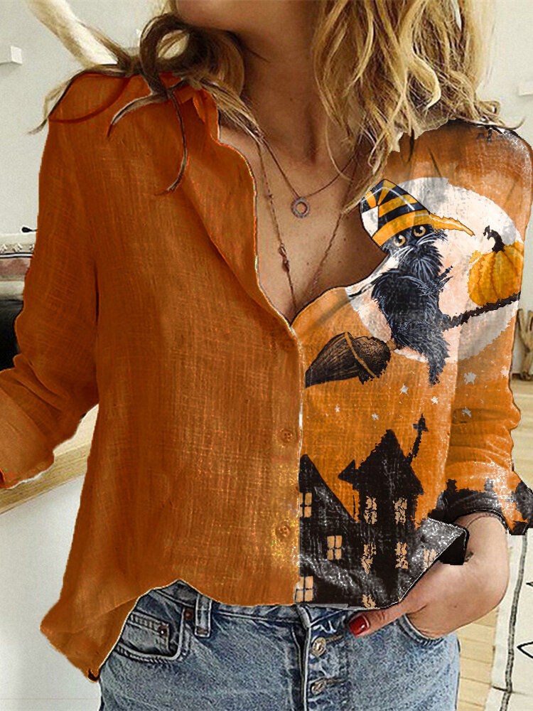 Cartoon Printed Long Sleeve Turn-down Collar Patchwork Blouse For Women