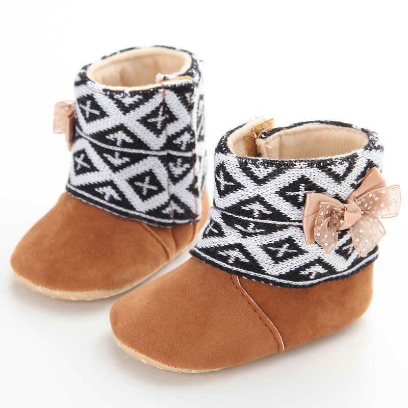 Baby Girls Boys Toddler Shoes Cute Bowknot Decor Plush Soft Sole Warm Snow Boots