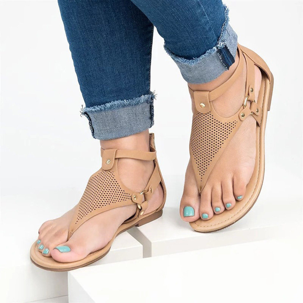 High-quality Large Size Women Casual Strappy Zipper Clip Toe Sandals