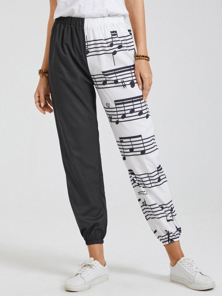 Printed Patchwork Elastic Waist Casual Pants with Pockets