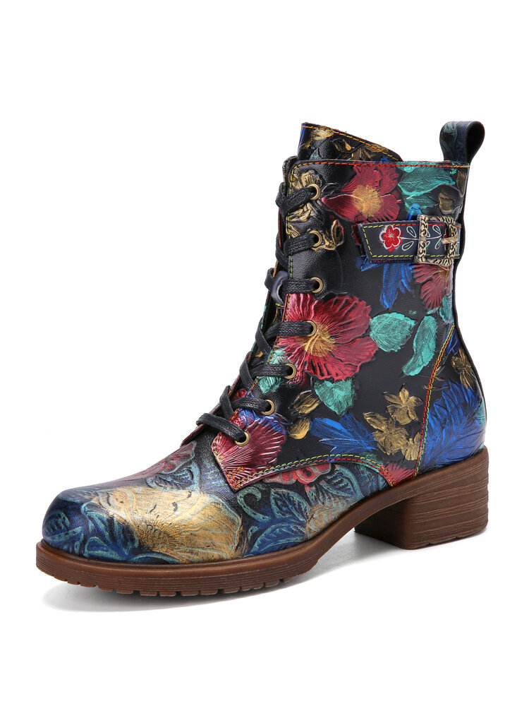 Socofy Retro Blossom Print Embossed Leather Warm Lined Lace Up Side Zipper Chunky Heel Short Boots