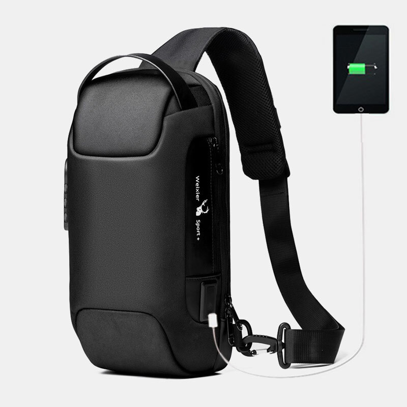 Men Oxford Password USB Charging Anti-theft Multi-Layers Waterproof Crossbody Bag Chest Bag Sling Bag