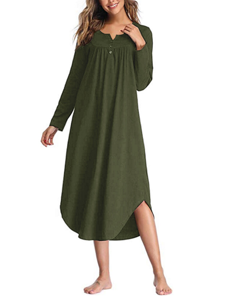 Asymmetrical Loose Long Sleeve Solid Color Dress